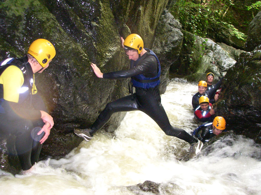 Gorge Walking in the Brecon Beacons with Adventures Wales, Stag and Hen adventure weekends, Teambuilding whilst gorge walking