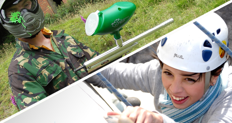 Paintballing and Climbing School activity days with Adventures Wales