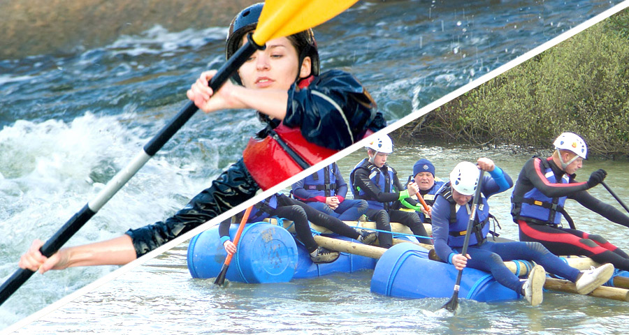 Raft Building and Kayaking School activity days with Adventures Wales