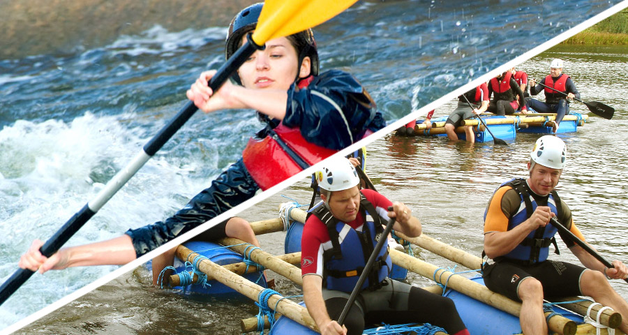 Raft Building and Kayaking Team Building Activities with Adventures Wales