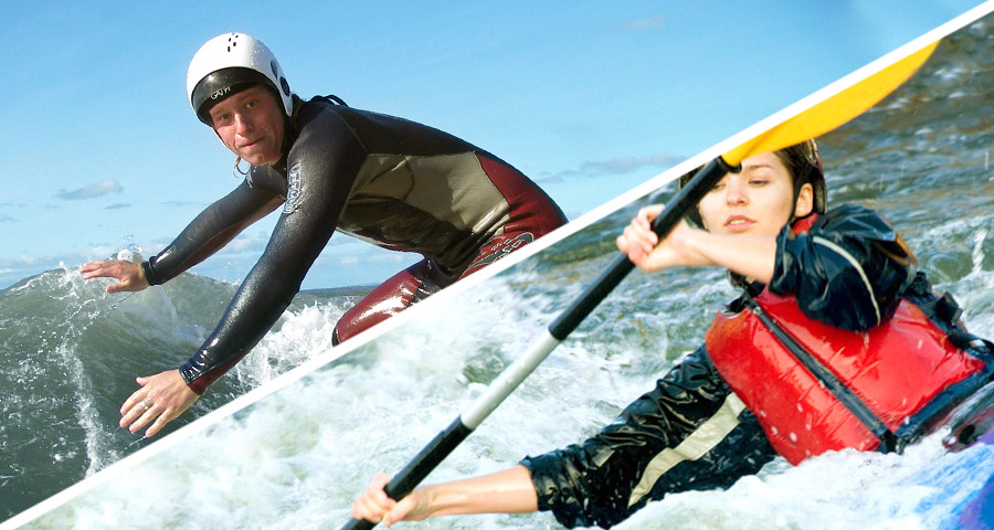 Surfing and Kayaking School activity days with Adventures Wales