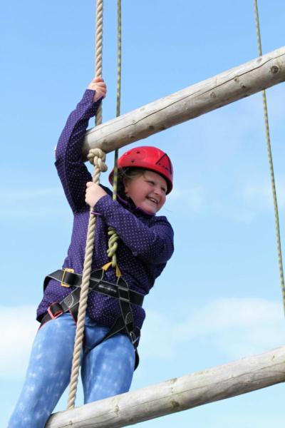 Girl Enjoying High Ropes in Wales