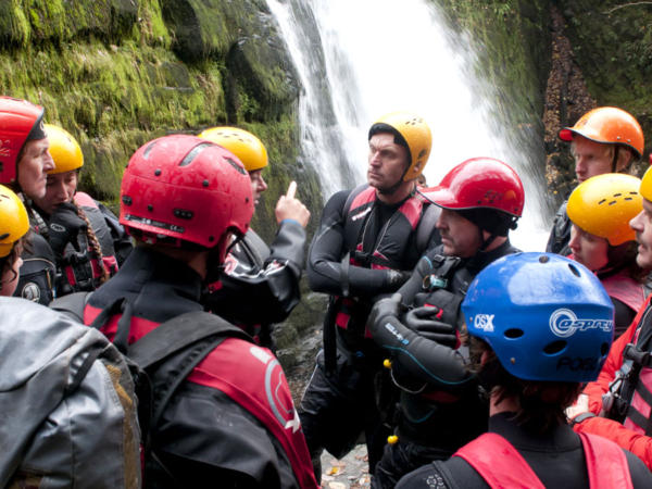 Group Gorge Scrambling in Wales