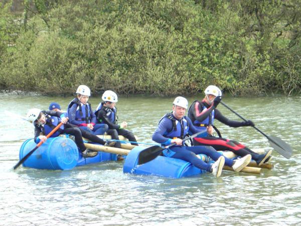Children Team Building Raft Building
