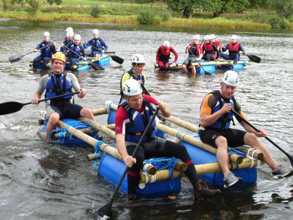 Teams Raft Building with Adventures Wales