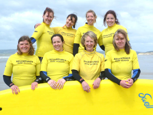 Women Surfing with Adventures Wales